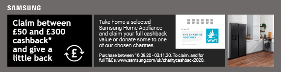 Samsung - Claim between ?50 and ?300 cashback on selected models and give a little back 16.09.2020 - 03.11.2020