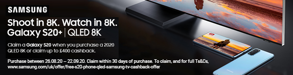 Samsung Complimentary Galaxy S20 or up to £400 Cashback Promotion 26.08.2020 - 22.09.2020