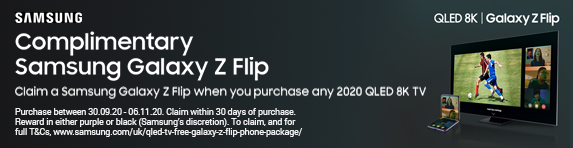Claim a Samsung Galaxy Z Flip when you purchase any 2020 QLED 8K TV - 30.09.2020 - 06.11.2020