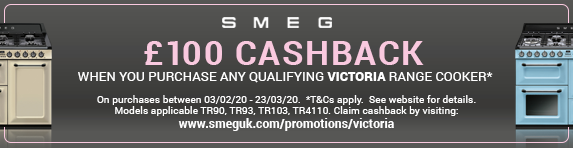 Smeg ?100 Cashback on qualifying Victoria Range Cookers 03.02.2020 - 23.03.2020