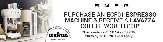 Smeg Purchase an ECF01 Coffee Machine and receive Lavazzo Coffee worth ?30 01.10.2019 - 24.12.2019