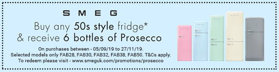 SMEG Buy any 50's style fridge and receive 6 bottles of Prosecco