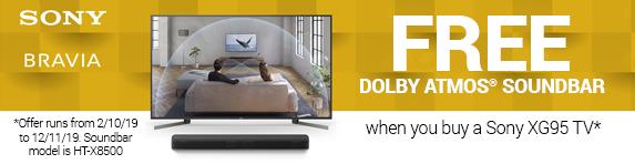 Sony Bravia Free Dolby Atmos Soundbar when you buy a Sony XG95 TV 02.10.2019 - 12.11.2019