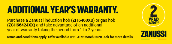 Zanussi Additional Warranty Ends 31.03.2020