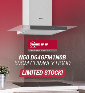 Limited stock remaining on the stainless-steel Neff 60cm Chimney Hood installed above ceramic hob