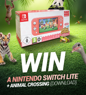 Click here to win a coral Nintendo Switch Lite with Animal Crossing game