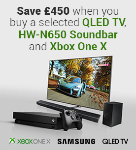 An Unbeatable Combination - Save £450 when you buy a Samsung QLED TV, HW-N650 Soundbar and Xbox One X
