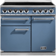Falcon 1000 Deluxe Induction China Blue Brushed Chrome 100cm Electric Induction Range Cooker