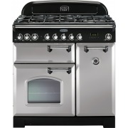 Rangemaster CDL90DFFRP/C Classic Deluxe Royal Pearl with Chrome Trim 90cm Dual Fuel Range Cooker