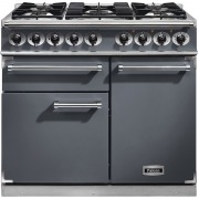 Falcon 1000 Deluxe Slate Brushed Chrome 100cm Dual Fuel Range Cooker