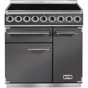Falcon 900 Deluxe Slate Brushed Chrome 90cm Electric Induction Range Cooker