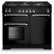 Rangemaster KCH100NGFBL/CKitchener Gloss Black and Chrome 100cm Gas Range Cooker
