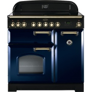 Rangemaster CDL90EIRB/B Classic Deluxe Regal Blue with Brass Trim 90cm Electric Induction Range Cooker