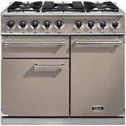 Falcon F1000DXDFFN/NM 1000 Deluxe Fawn with Brushed Chrome Trim 100cm Dual Fuel Range Cooker
