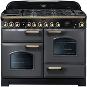Rangemaster CDL110DFFSL/B Classic Deluxe Slate with Brass Trim 110cm Dual Fuel Range Cooker