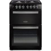 Rangemaster PROPL60DFFBL/C Professional Plus Black with Chrome Trim Dual Fuel Cooker with Double Oven