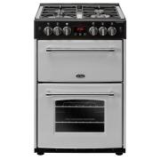 Belling Farmhouse 60G Silver Gas Cooker with Double Oven