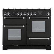 Rangemaster KCH110DFFBL/C Kitchener Gloss Black with Chrome Trim 110cm Dual Fuel Range Cooker