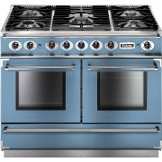 Falcon 1092 Continental China Blue Brushed Chrome 110cm Dual Fuel Range Cooker