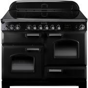 Rangemaster CDL110ECBL/C Classic Deluxe Gloss Black with Chrome Trim 110cm Electric Ceramic Range Cooker