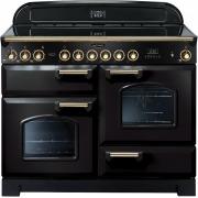 Rangemaster CDL110ECBL/B Classic Deluxe Black with Brass Trim 110cm Electric Ceramic Range Cooker