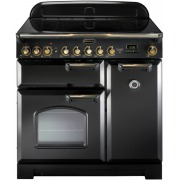 Rangemaster CDL90ECBL/B Classic Deluxe Gloss Black with Brass Trim 90cm Electric Ceramic Range Cooker