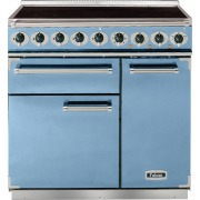 Falcon 900 Deluxe China Blue Brushed Chrome 90cm Electric Induction Range Cooker