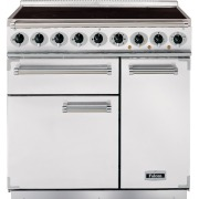 Falcon 900 Deluxe Ice White Brushed Chrome 90cm Electric Induction Range Cooker
