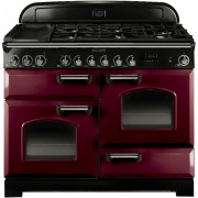 Rangemaster CDL110DFFCY/C Classic Deluxe Cranberry with Chrome Trim 110cm Dual Fuel Range Cooker
