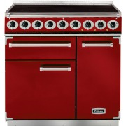 Falcon 900 Deluxe Cherry Red Brushed Chrome 90cm Electric Induction Range Cooker