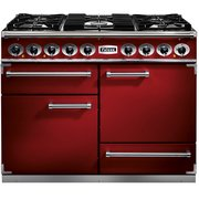 Falcon 1092 Deluxe Cherry Red Brushed Chrome 110cm Dual Fuel Range Cooker