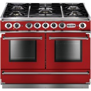 Falcon 1092 Continental Cherry Red Brushed Chrome 110cm Dual Fuel Range Cooker