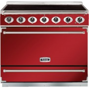 Falcon 900S Cherry Red Brushed Chrome 90cm Electric Induction Range Cooker