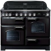 Rangemaster CDL110EIBL/C Classic Deluxe Gloss Black with Chrome Trim 110cm Electric Induction Range Cooker
