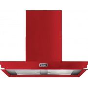 Falcon Contemporary Cherry Red Brushed Chrome 90cm Chimney Cooker Hood