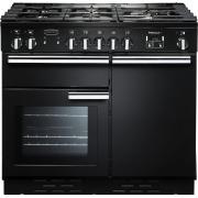 Rangemaster PROP100DFFGB/C Professional Plus Black with Chrome Trim 100cm Dual Fuel Range Cooker