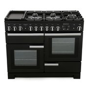 Rangemaster PDL110DFFGB/C Professional Deluxe Gloss Black with Chrome Trim 110cm Dual Fuel Range Cooker