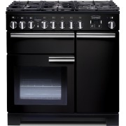 Rangemaster PDL90DFFGB/C Professional Deluxe Gloss Black with Chrome Trim 90cm Dual Fuel Range Cooker