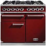 Falcon 1000 Deluxe Cherry Red Brushed Chrome 100cm Dual Fuel Range Cooker