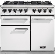 Falcon 1000 Deluxe Ice White Brushed Chrome 100cm Dual Fuel Range Cooker