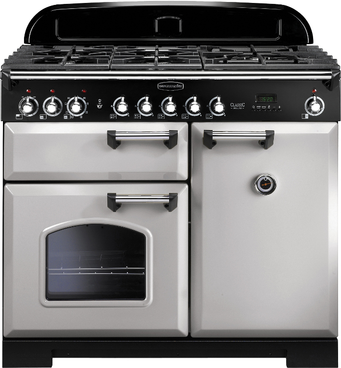 Rangemaster CDL100DFFRP/C Classic Deluxe Royal Pearl with Chrome Trim 100cm Dual Fuel Range Cooker