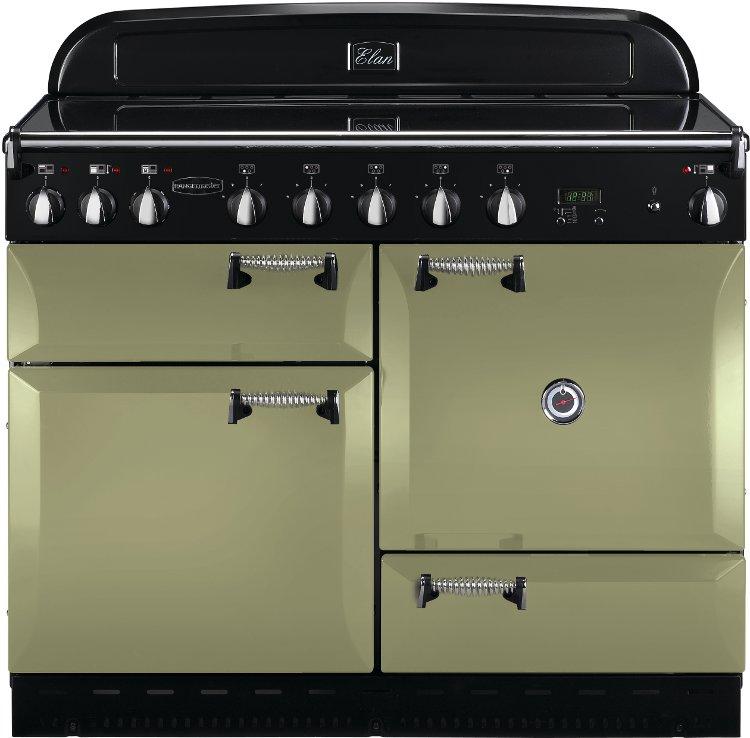 rangemaster elas110eiog elan olive green with chrome trim 110cm electric induction range cooker