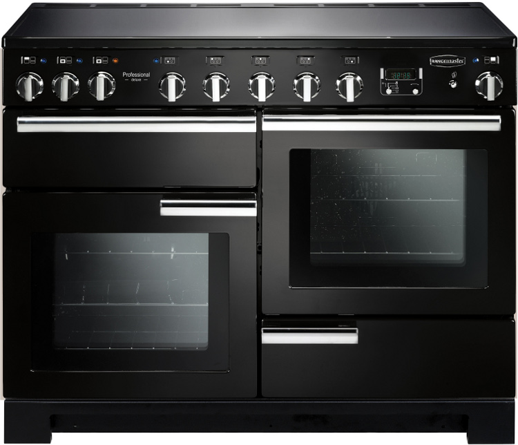 Rangemaster PDL110EIGB/C Professional Deluxe 110 Induction Black 110cm Electric Induction Range Cooker