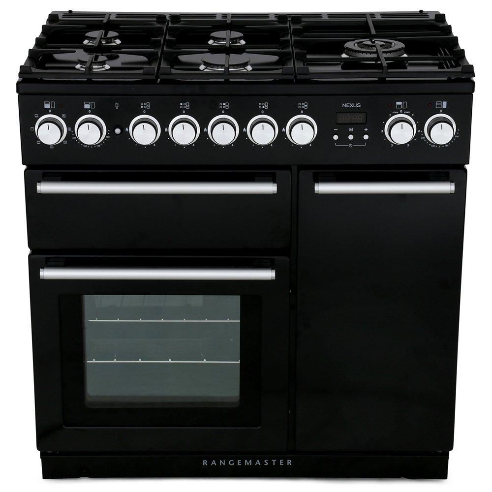 Rangemaster NEX90DFFBL/C Nexus Gloss Black with Chrome Trim 90cm Dual Fuel Range Cooker