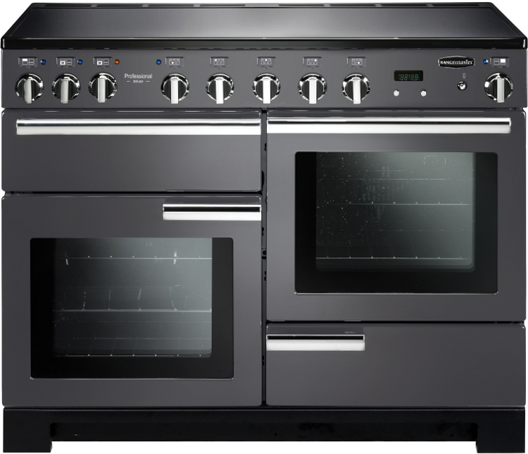 Rangemaster PDL110EISL/C Professional Deluxe Slate with Chrome Trim 110cm Electric Induction Range Cooker