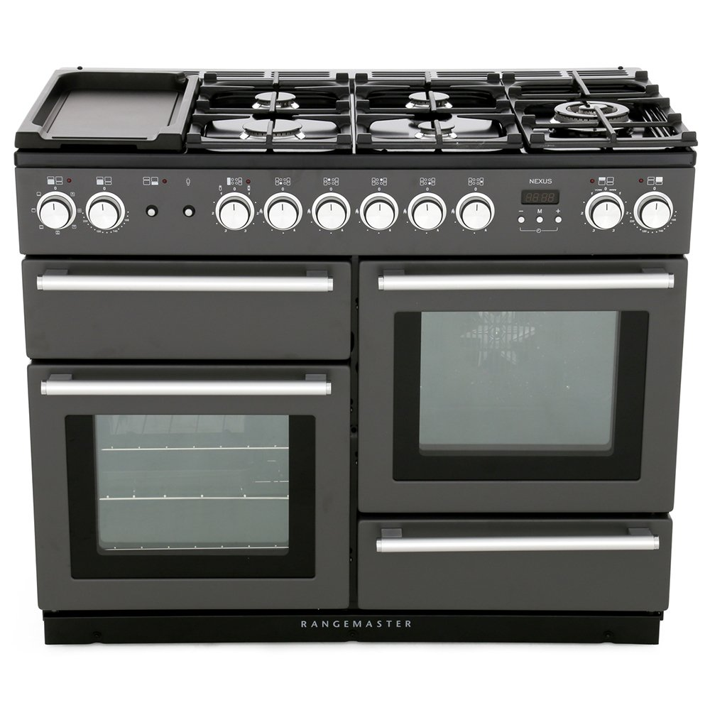 Rangemaster NEX110DFFSL/C Nexus Slate with Chrome Trim 110cm Dual Fuel Range Cooker