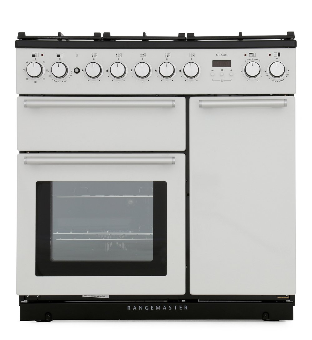 Rangemaster NEX90DFFWH/C Nexus White with Chrome Trim 90cm Dual Fuel Range Cooker