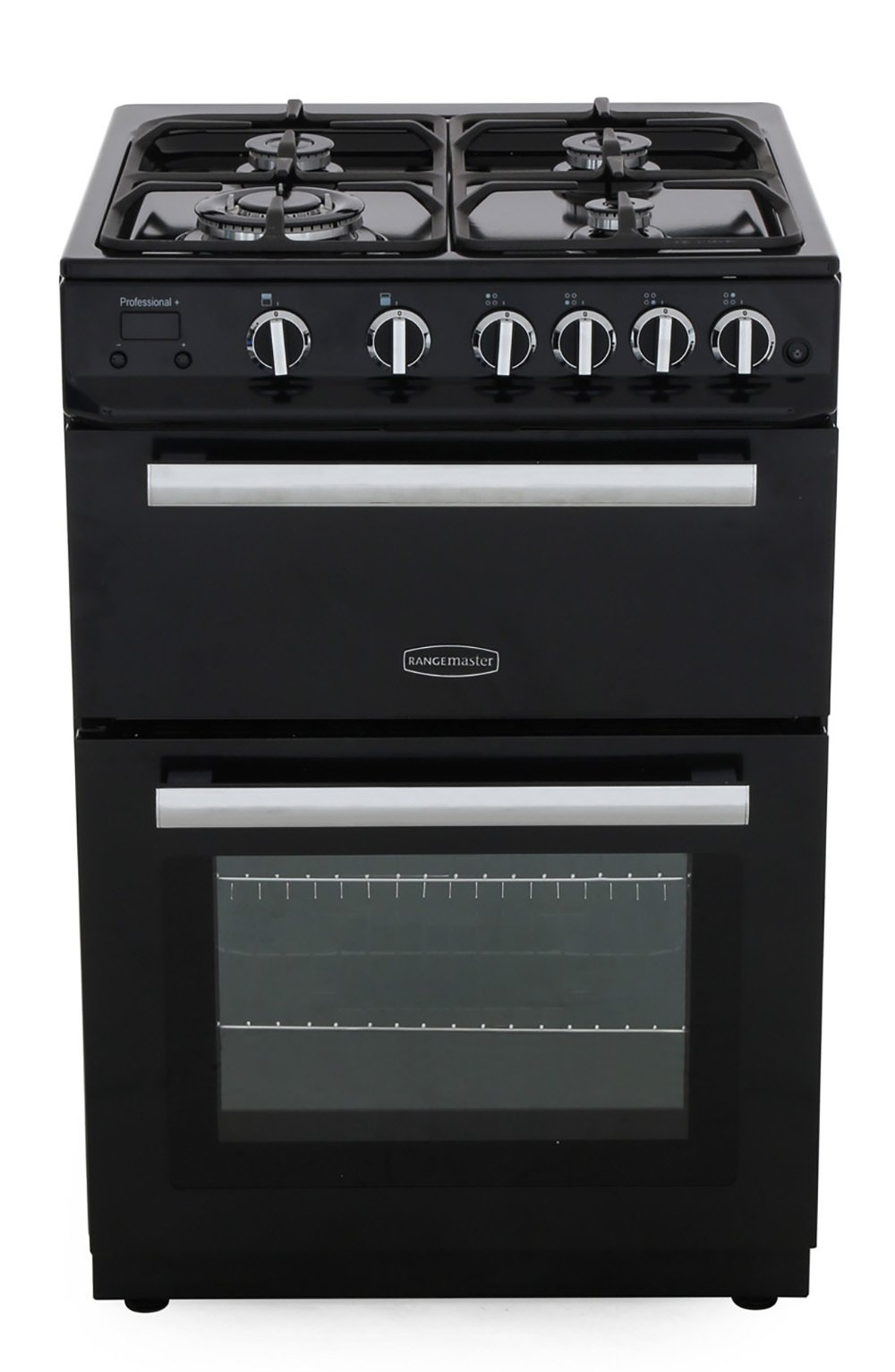 Rangemaster PROP60NGFBL/C Professional Plus 60 NG Black with Chrome Trim Gas Cooker with Double Oven