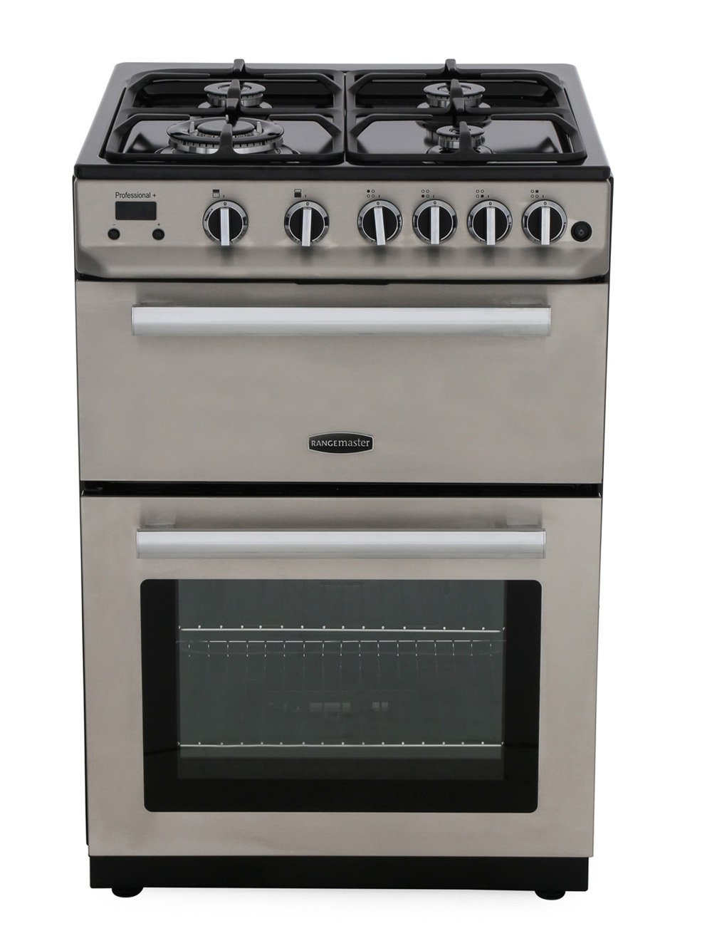 Rangemaster PROP60NGFSS/C Professional Plus 60 NG Stainless Steel with Chrome Trim Gas Cooker with Double Oven