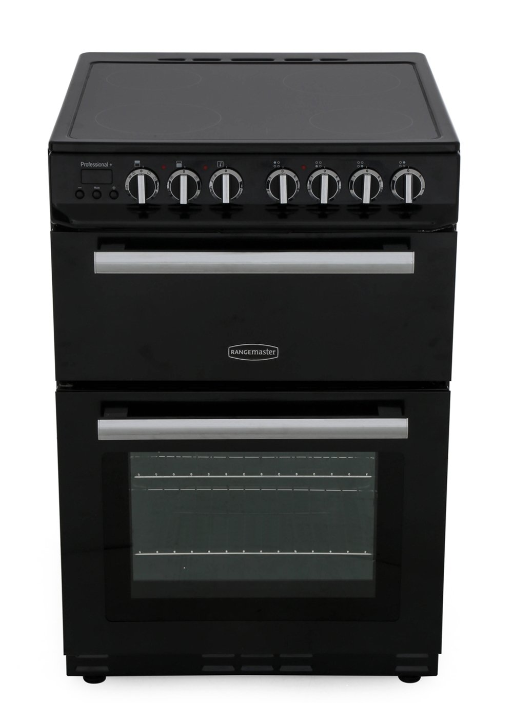 Rangemaster PROP60ECBL/C Professional Plus 60 Black with Chrome Trim Ceramic Electric Cooker with Double Oven